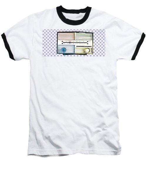 Vintage Radio Purple Dots Mug Baseball T-Shirt
