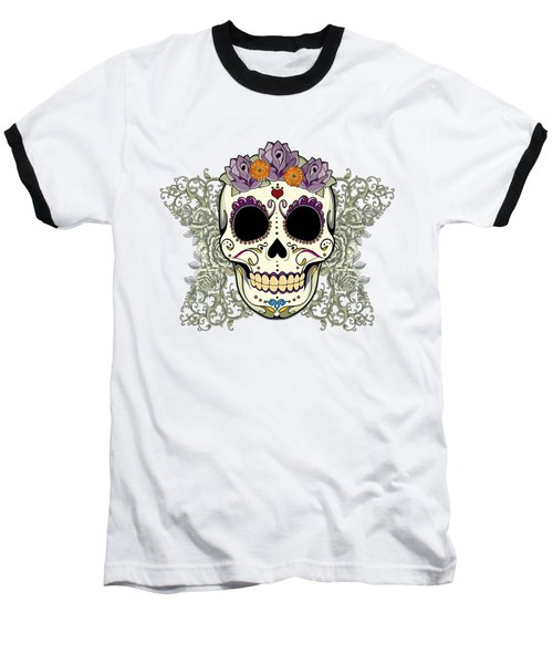 Vintage Sugar Skull And Flowers Baseball T-Shirt by Tammy Wetzel