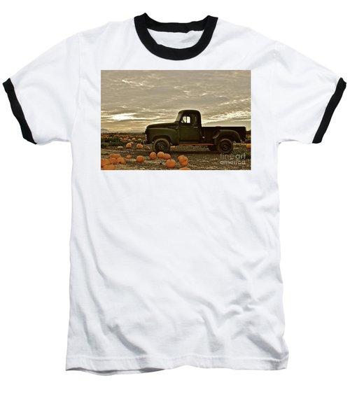 Vintage Truck Two In Pumpkin Graveyard Baseball T-Shirt