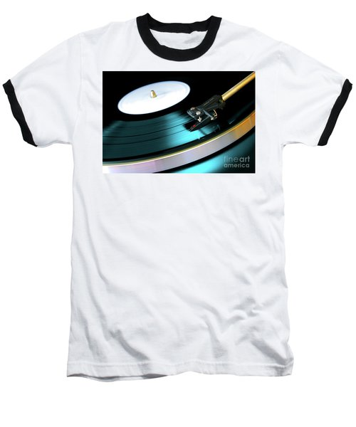 Vinyl Record Baseball T-Shirt by Carlos Caetano