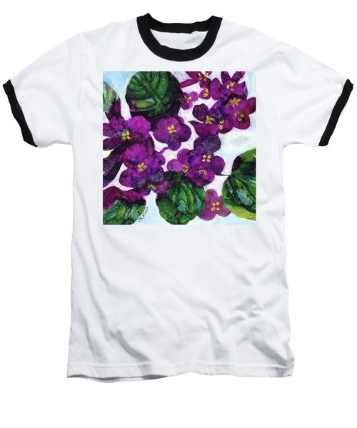 Baseball T-Shirt featuring the painting Violets by Julie Maas