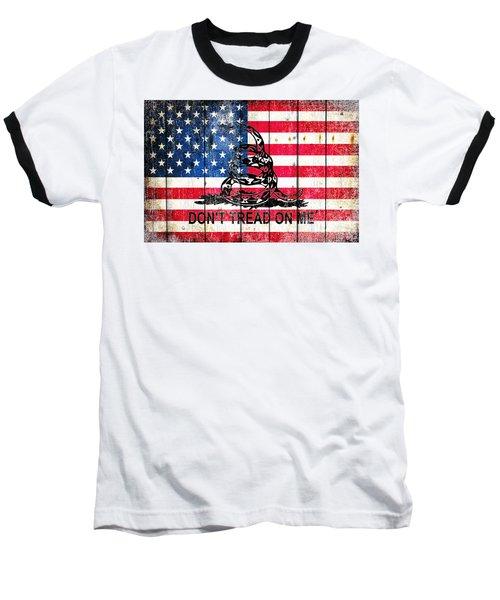 Viper On American Flag On Old Wood Planks Baseball T-Shirt by M L C