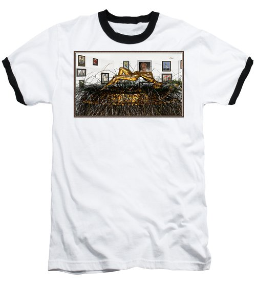 Baseball T-Shirt featuring the mixed media Virtual Exhibition With Birthday Cake by Pemaro