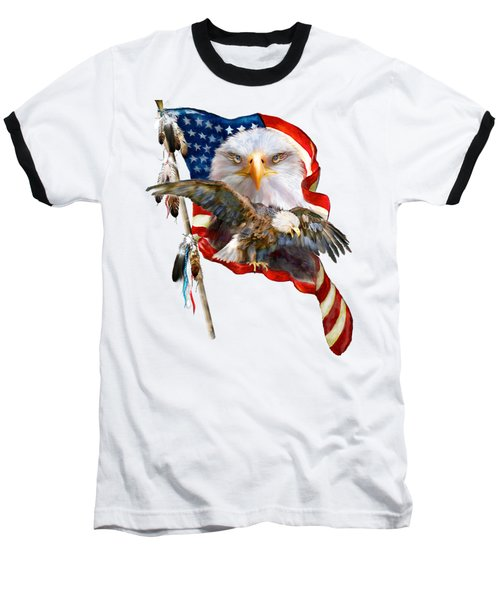 Baseball T-Shirt featuring the mixed media Vision Of Freedom by Carol Cavalaris