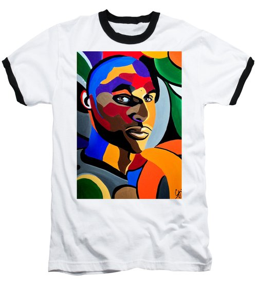 Visionaire, Abstract Male Face Portrait Painting - Illusion Abstract Artwork - Chromatic Baseball T-Shirt