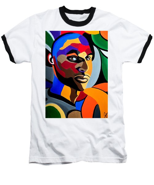 Visionaire - Male Abstract Portrait Painting - Abstract Art Print Baseball T-Shirt