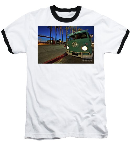 Volkswagen Bus At The Imperial Beach Pier Baseball T-Shirt by Sam Antonio Photography