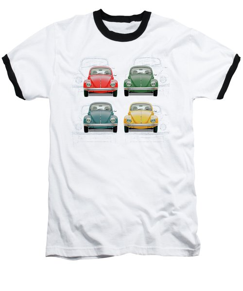 Volkswagen Type 1 - Variety Of Volkswagen Beetle On Vintage Background Baseball T-Shirt