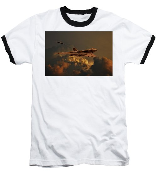Vulcan Bombers Into The Storm Baseball T-Shirt by Ken Brannen