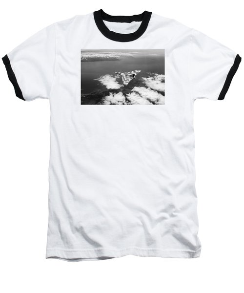 Vulcan Over South Wales Black And White Baseball T-Shirt