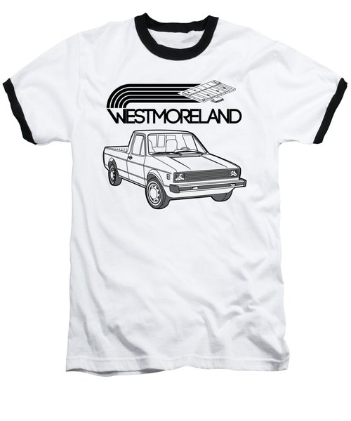Vw Rabbit Pickup - Westmoreland Theme - Black Baseball T-Shirt by Ed Jackson