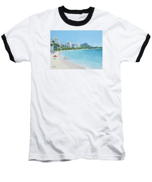 Waikiki Beach Honolulu Hawaii Baseball T-Shirt