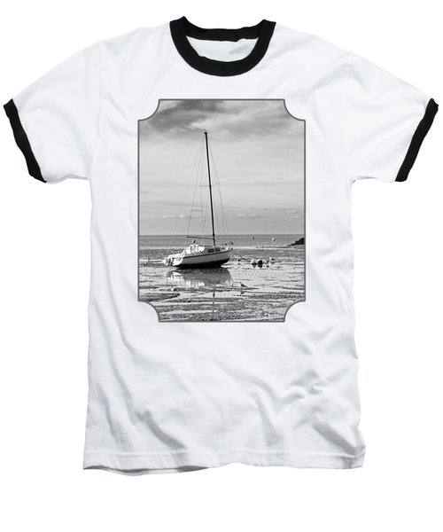 Waiting For High Tide Black And White Baseball T-Shirt by Gill Billington