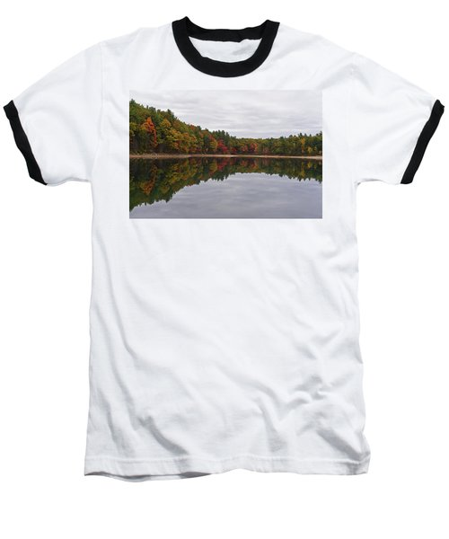 Walden Pond Fall Foliage Concord Ma Reflection Trees Baseball T-Shirt