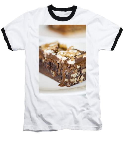 Walnut Brownie On A White Plate Baseball T-Shirt by Ulrich Schade
