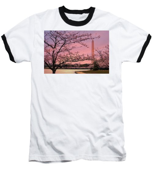 Baseball T-Shirt featuring the photograph Washington Monument Cherry Blossom Festival by Shelley Neff