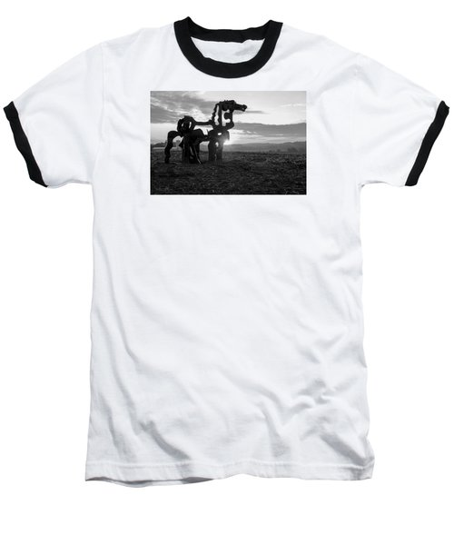 Watchful The Iron Horse  Baseball T-Shirt by Reid Callaway