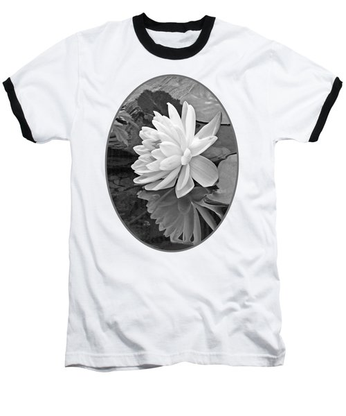 Water Lily Reflections In Black And White Baseball T-Shirt by Gill Billington