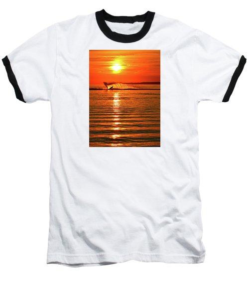 Water Skiing At Sunrise  Baseball T-Shirt