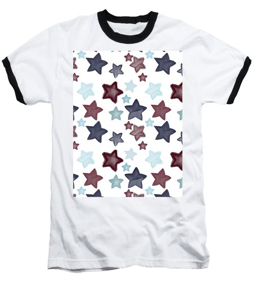 Watercolor Blue Red Stars Baseball T-Shirt by P S