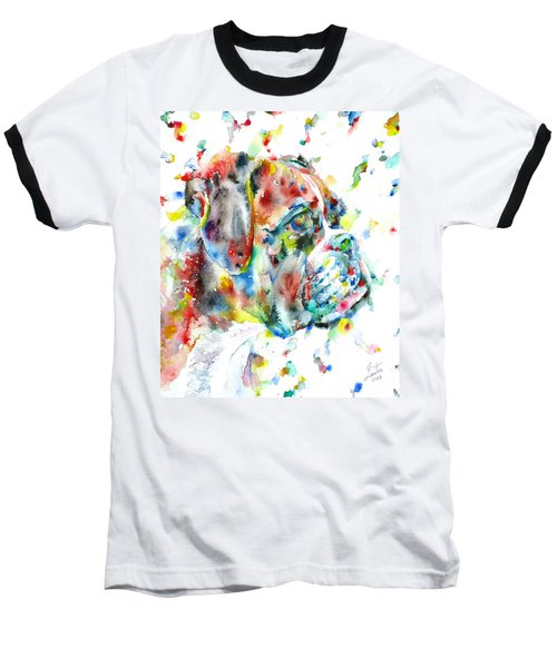 Watercolor Boxer Baseball T-Shirt