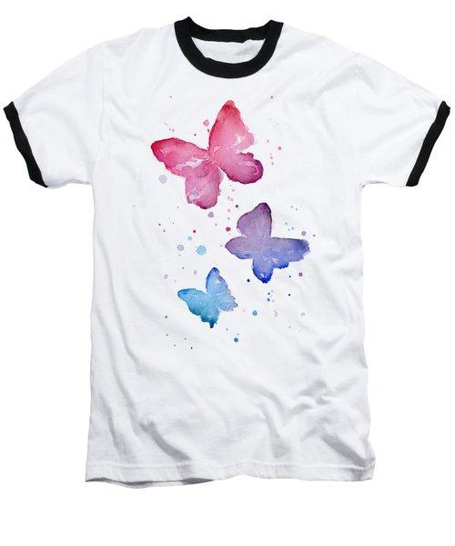 Watercolor Butterflies Baseball T-Shirt by Olga Shvartsur