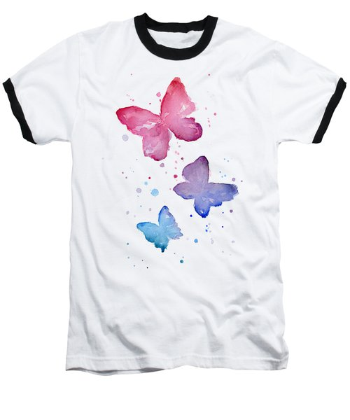 Watercolor Butterflies Baseball T-Shirt