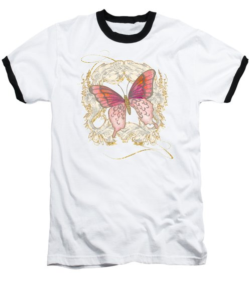 Watercolor Butterfly With Vintage Swirl Scroll Flourishes Baseball T-Shirt by Audrey Jeanne Roberts