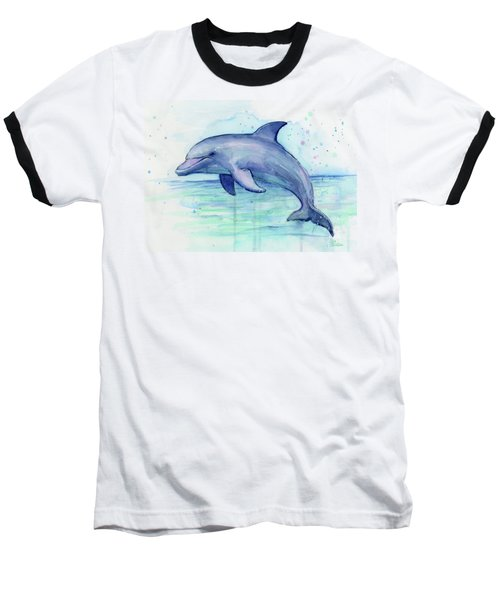 Watercolor Dolphin Painting - Facing Right Baseball T-Shirt