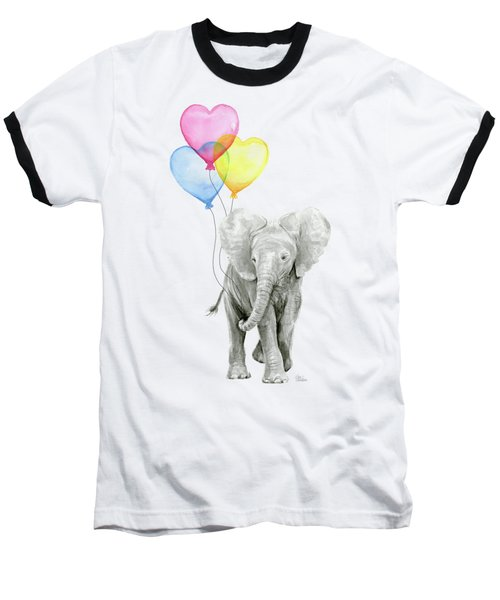 Watercolor Elephant With Heart Shaped Balloons Baseball T-Shirt by Olga Shvartsur