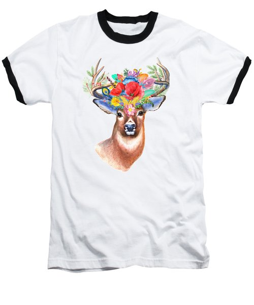 Watercolor Fairytale Stag With Crown Of Flowers Baseball T-Shirt