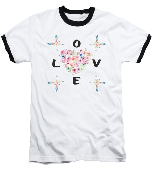 Watercolor Flowers Arrows Love Typography Baseball T-Shirt