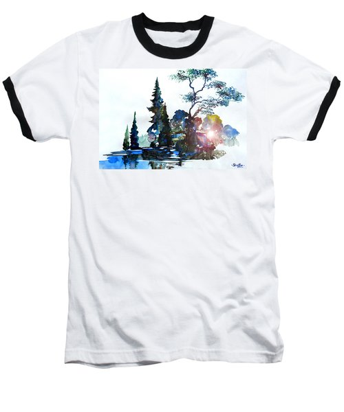Baseball T-Shirt featuring the painting Watercolor Forest And Pond by Curtiss Shaffer