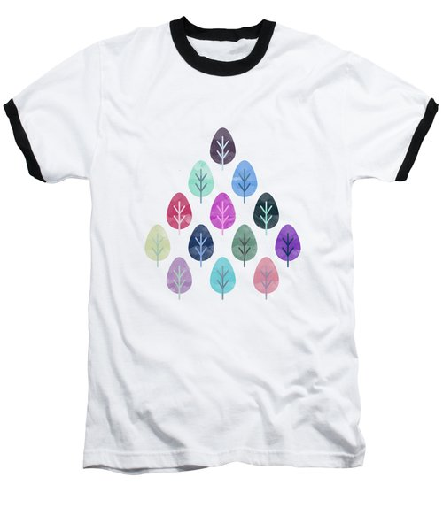 Watercolor Forest Pattern II Baseball T-Shirt