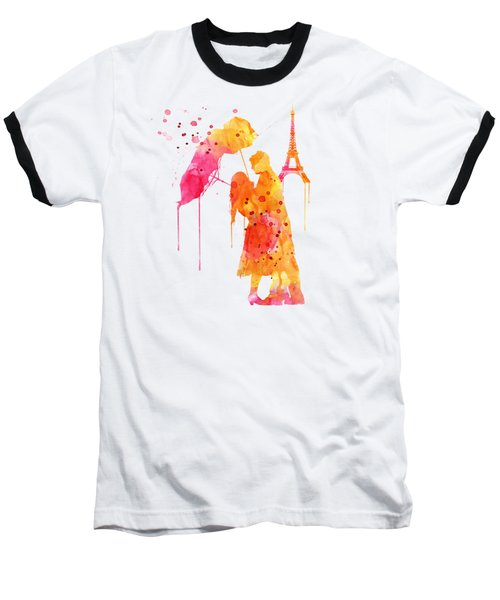 Watercolor Love Couple In Paris Baseball T-Shirt by Marian Voicu