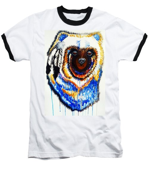 Baseball T-Shirt featuring the painting Watercolor Painting Of Spirit Of The Bear By Ayasha Loya by Ayasha Loya