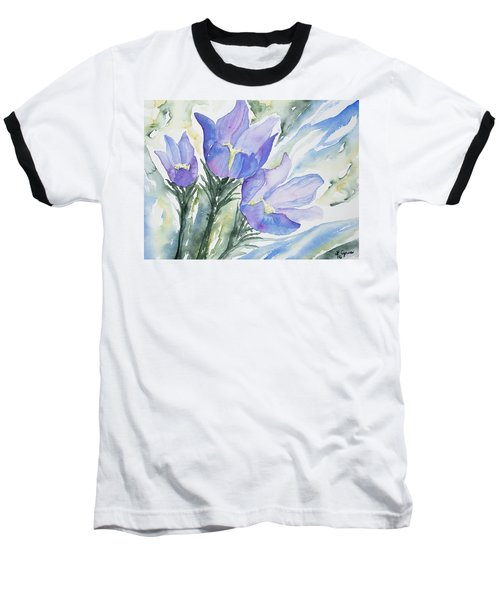 Watercolor - Pasque Flowers Baseball T-Shirt