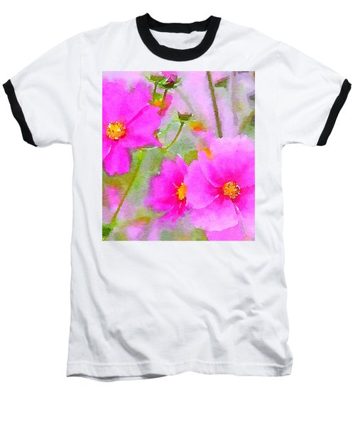 Baseball T-Shirt featuring the painting Watercolor Pink Cosmos by Bonnie Bruno
