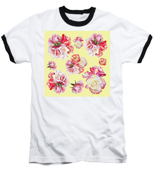Baseball T-Shirt featuring the painting Watercolor Roses Golden Dance by Irina Sztukowski