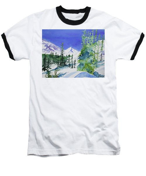 Watercolor - Sunny Winter Day In The Mountains Baseball T-Shirt