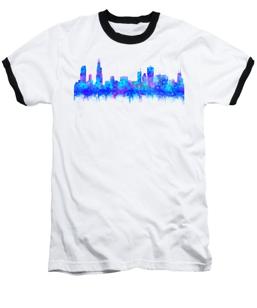 Watercolour Splashes And Dripping Effect Chicago Skyline Baseball T-Shirt
