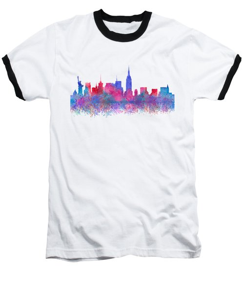 Watercolour Splashes New York City Skylines Baseball T-Shirt