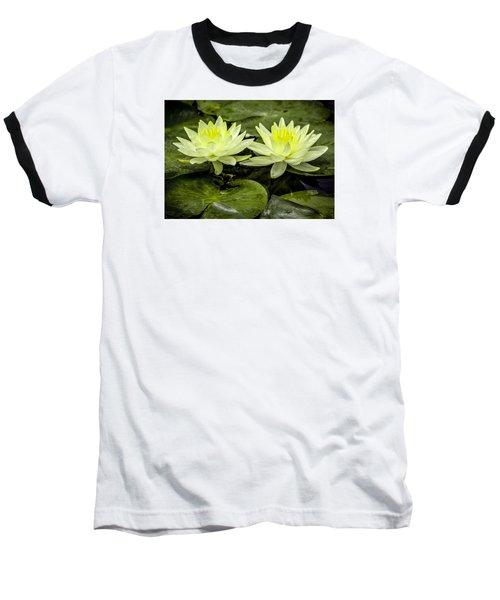 Waterlily Duet Baseball T-Shirt by Venetia Featherstone-Witty