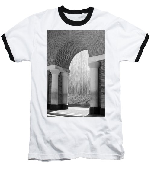 Waterwall And Arch 3 In Black And White Baseball T-Shirt