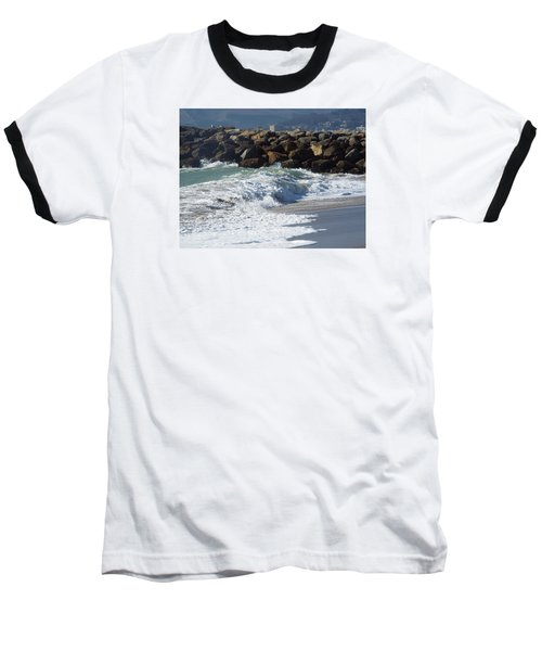 Waves Against Breakwater Baseball T-Shirt