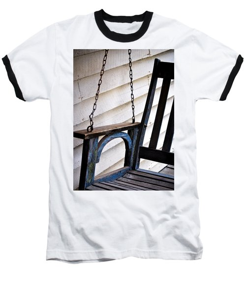 Weathered Porch Swing Baseball T-Shirt by Debbie Karnes