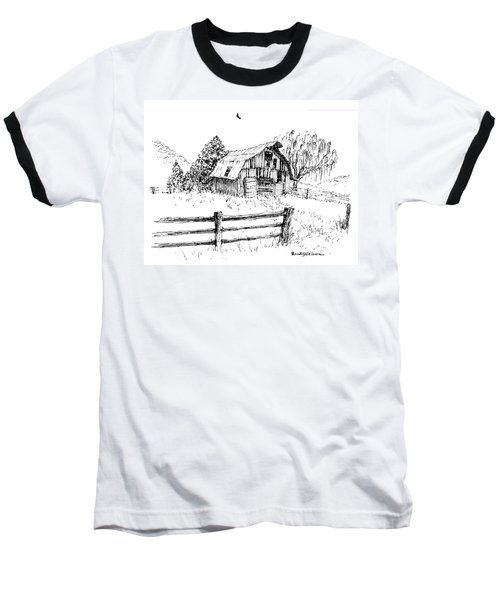 Weeping Willow And Barn One Baseball T-Shirt
