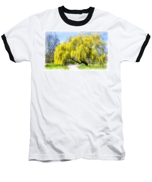 Weeping Willow Aquarell Baseball T-Shirt