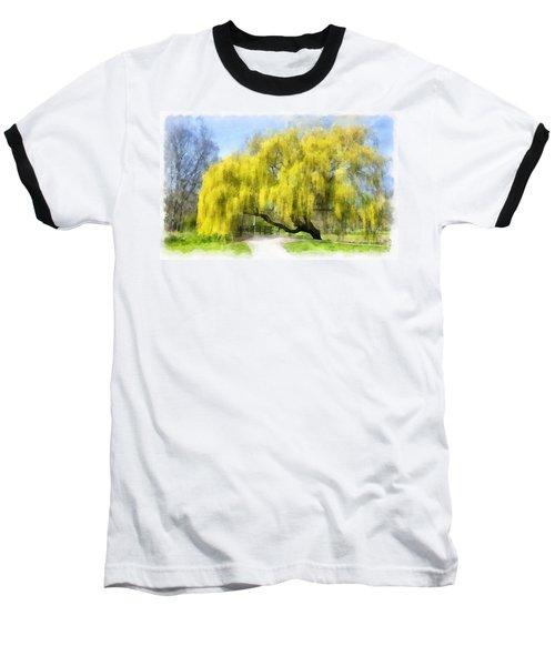 Weeping Willow Aquarell Baseball T-Shirt
