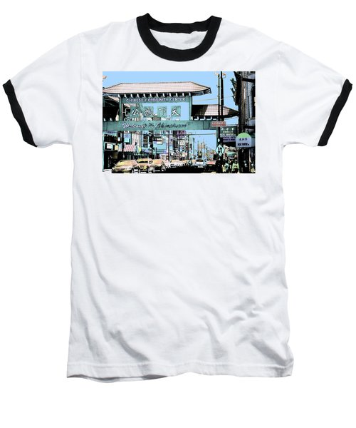 Welcome To Chinatown Sign Blue Baseball T-Shirt by Marianne Dow
